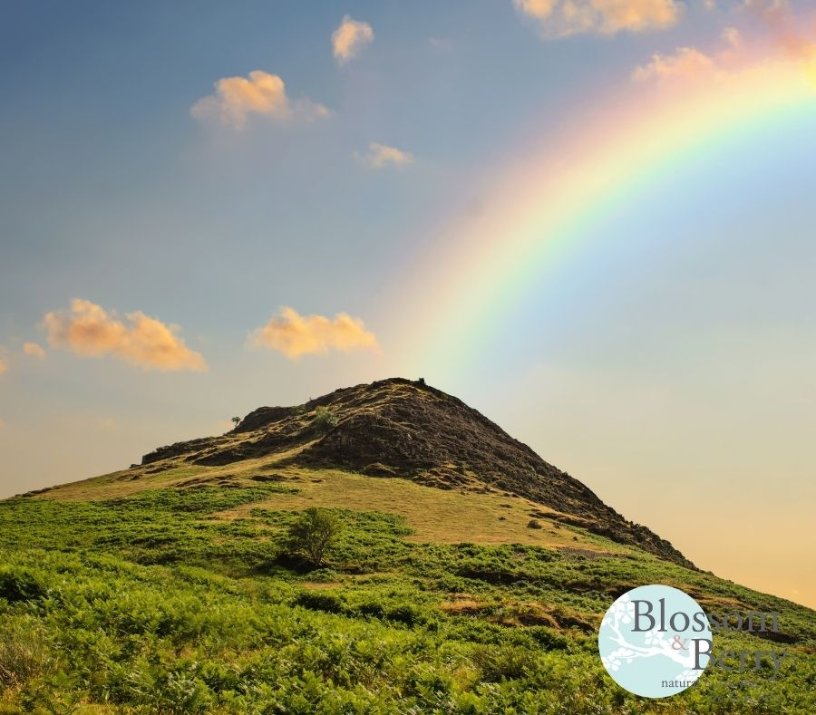 Picture of a mountain with a rainbow over it